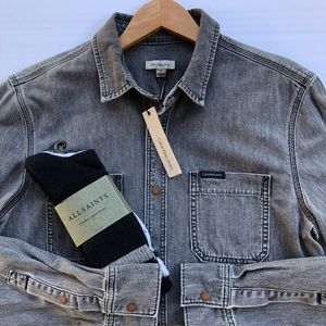 NEW Calvin Klein Washed Denim Snap Button Shirt